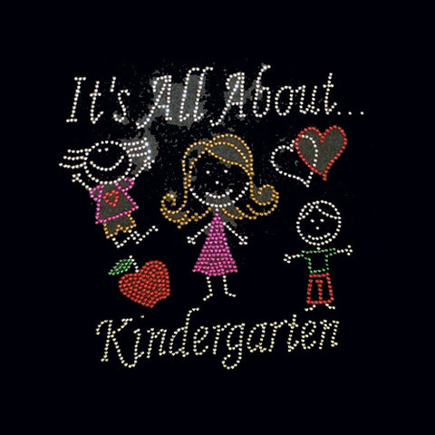 "It's All About Kindergarten (7.5x7.5"")  Rhinestone Bling Shirt - Bling By Bates"