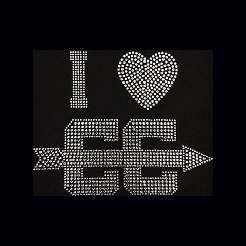 "I Love Cross Country  Clear (8x10"") Rhinestone Shirt - Bling By Bates"