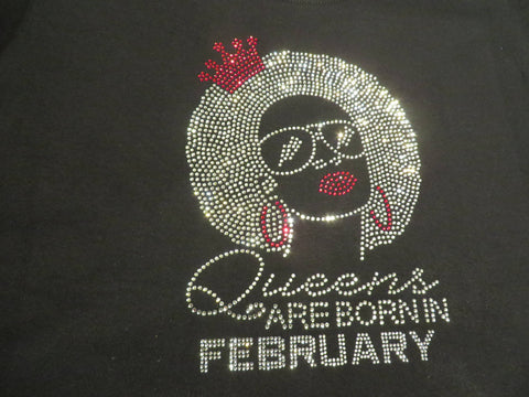 "Queens are born in February Natural Girl Red (9.25x9"") Rhinestone Bling Shirt - Bling By Bates"
