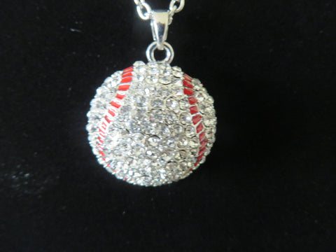 "Baseball Crystal Necklace with 21"" chain - Silver Tone Bling - Bling By Bates"
