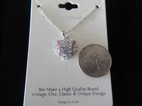 "Baseball Heart Crystal Necklace with 18"" chain - Silver Tone Bling - Bling By Bates"