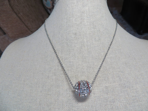 Baseball Crystal Necklace  - Silver Tone Bling - Bling By Bates