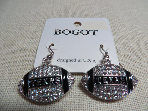 Texas Football Earrings - Rhinestone Bling - Silver Tone - Bling By Bates