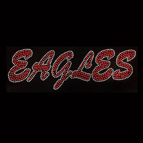 "Eagles (Red) (3x9.5"") Rhinestone Bling Shirt - Bling By Bates"