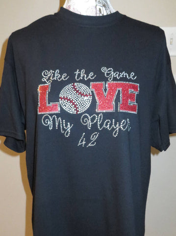 Like the Game Love My  Player - Rhineston Bling Shirt - Bling By Bates
