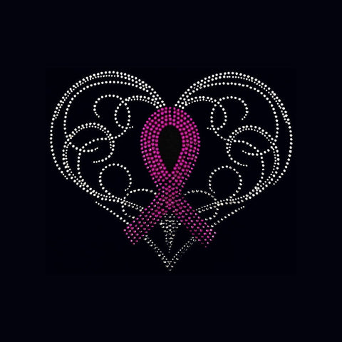 "Crystal Heart Ribbon (7x8.5"") Rhinestone Bling Shirt - Bling By Bates"