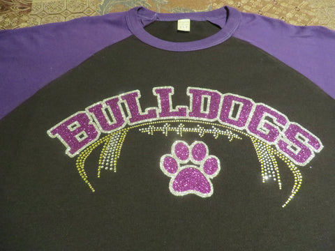 Bulldogs Football Rhinestone & Glitter Vinyl Bling Shirt - Bling By Bates
