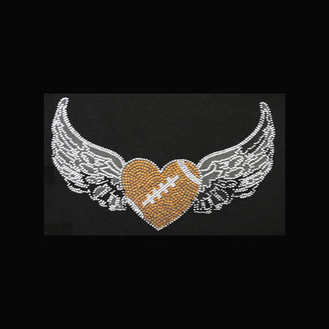 "Heart Football with Wings (7x12"")Rhinestone Bling Shirt - Bling By Bates"