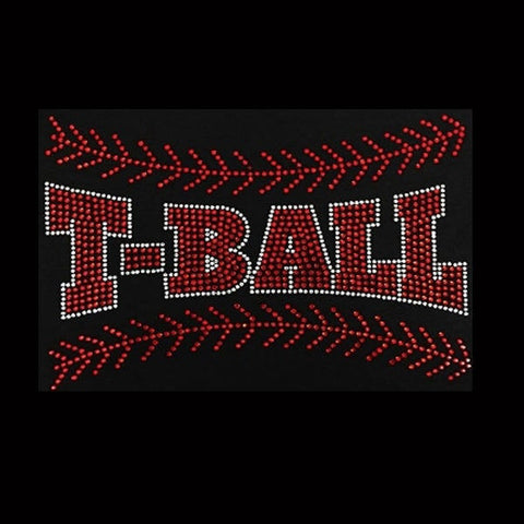 "T-Ball Mom (6x8.5"") Baseball Rhinestone Shirt - Bling By Bates"