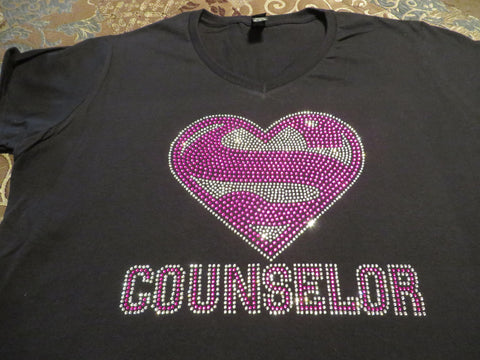 "Super Counselor Pink (8x10"") Rhinestone Bling Shirt - Bling By Bates"