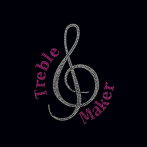 "Treble Maker (9.25x7.5"") Music Rhinestone Bling Shirt - Bling By Bates"
