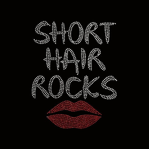 "Short Hair Rocks (10x7.75"") Rhinestone Bling Shirt - Bling By Bates"