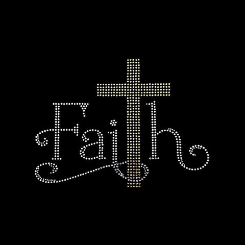 "Faith Cross (6.75x9"") Faith Rhinestone Bling  Shirt - Bling By Bates"