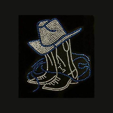 "Boots & Hat  Blue (8.5x7.5"") Rhinestone Bling Shirt - Bling By Bates"