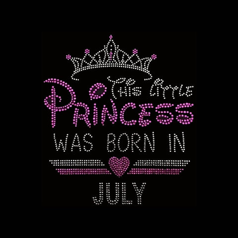 "This Little Princess was born in July (8.5x7.5"") Rhinestone Shirt - Bling By Bates"