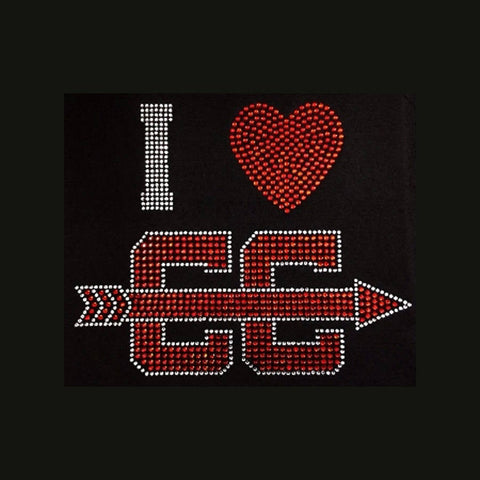 "I Love Cross Country Red (8x10"") Rhinestone Shirt - Bling By Bates"
