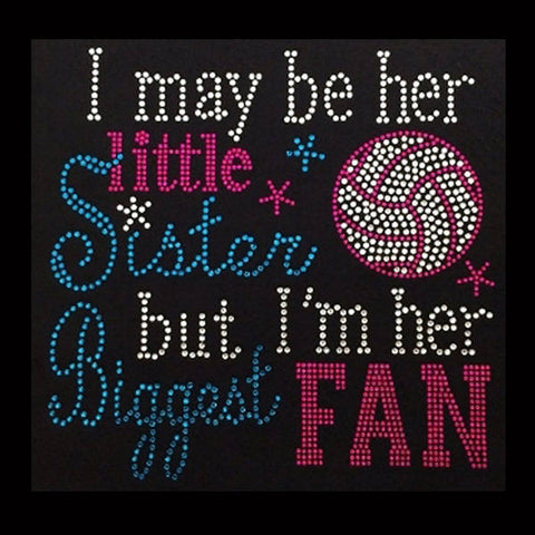 "I'm her biggest FAN, Volleyball (7.5x8"") Rhinestone Shirt - Bling By Bates"