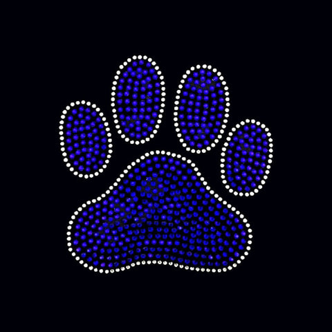 Mascot, Paw Print (6.5x6) Blue, Clear, Gold, Red, Orange, Green Rhinestone Bling Shirt - Bling By Bates