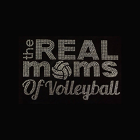 "The Real Moms of Volleyball (5.75x9"") Rhinestone Bling Shirt - Bling By Bates"