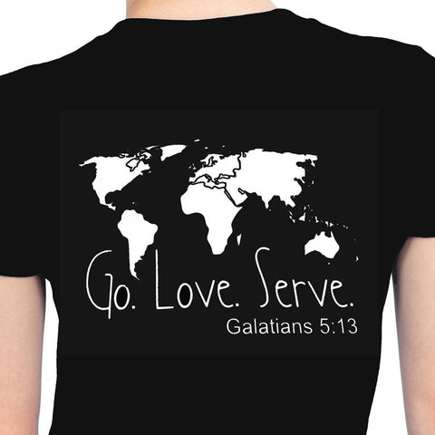 Go Love Serve Galatians 5:13 USA & Monogram - front - World Map - back - Bling By Bates