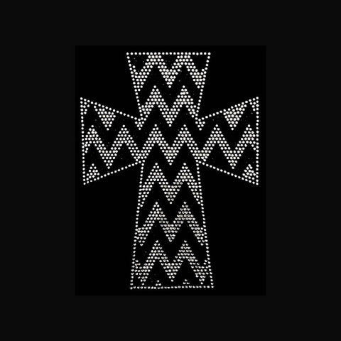 "Chevron Cross  (10x7.5"") Faith Rhinestone Bling Shirt - Bling By Bates"