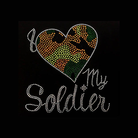 "Army, I Love My Soldier (9.5x8.75"") Rhinestone Bling Shirt - Bling By Bates"