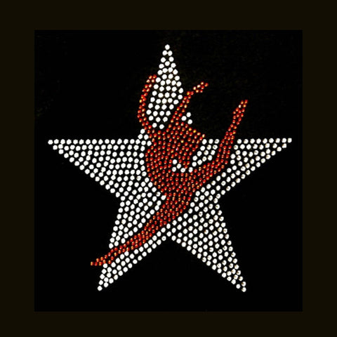 Small Silhouette Over Star  (6.5x6) Rhinestone Bling Shirt - Bling By Bates