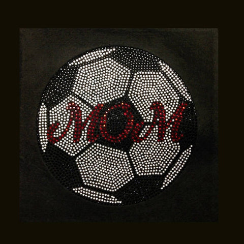 "Soccer Mom (9.25x9.25"") Rhinestone Bling Shirt - Bling By Bates"