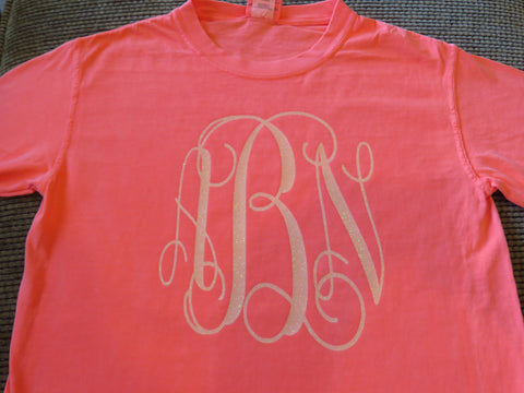 Monogram - Glitter, Metallic or Plain Vinyl Shirt - Bling By Bates