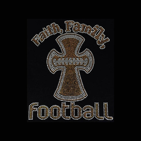 "Faith Family Football, Brown (11.25x9.25"") Rhinestone Bling Shirt - Bling By Bates"