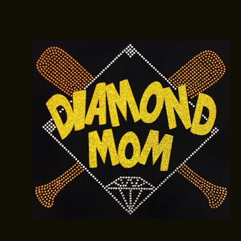 Baseball, Diamond Mom Gold (9.5x10.5) Rhinestone & Glitter Bling Shirt - Bling By Bates