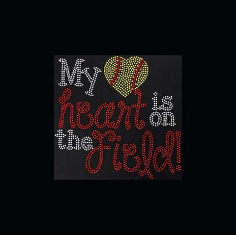 "My Heart Is on the Field (8.75x9"") Rhinestone Bling Shirt - Bling By Bates"