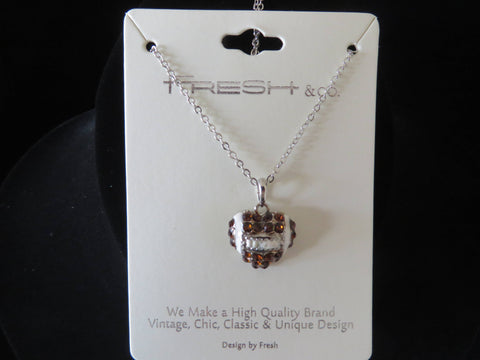 "Football Heart Crystal Necklace with 18"" chain - Silver Tone Bling - Bling By Bates"