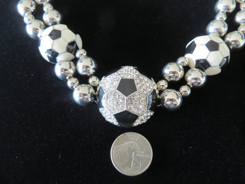"Soccer Necklace Adjustable to 22"" - Silver Tone Bling - Bling By Bates"