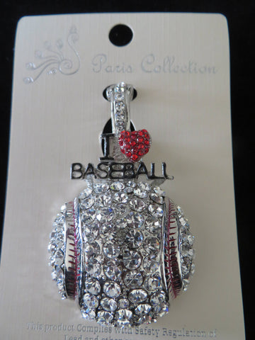 I Love Baseball Crystal Pendant - Silver Tone Bling - Bling By Bates