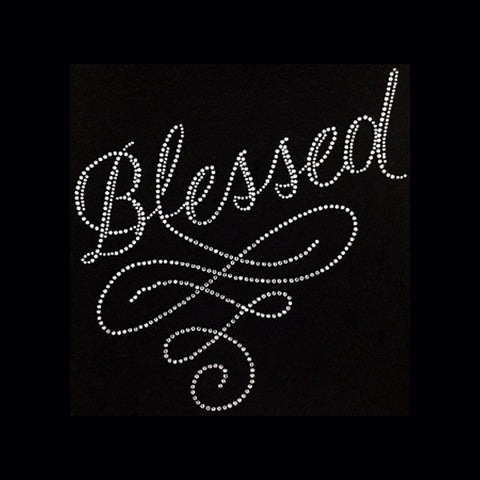 "Blessed Swirl (9x8.5"") Faith Rhinestone Bling Shirt - Bling By Bates"