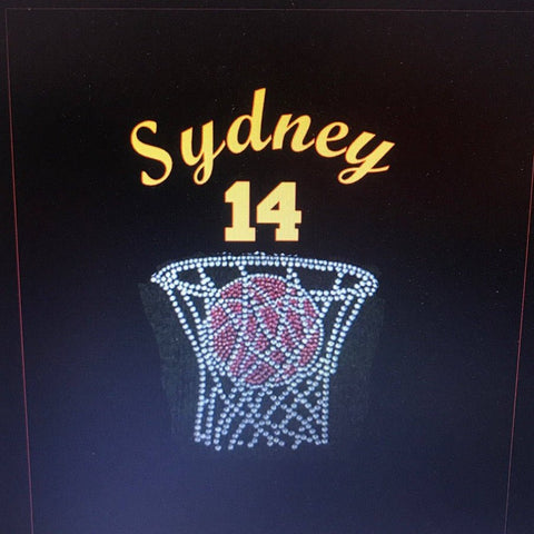 Basketball Player, Number, Net and Ball - Rhinestone  & Glitter Vinyl Shirt - Bling By Bates