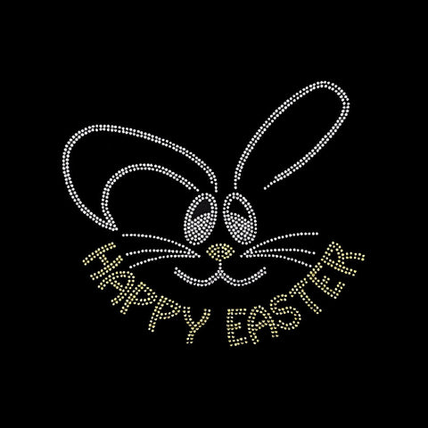 "Happy Easter (7x7.75"") Rhinestone Bling Shirt - Bling By Bates"