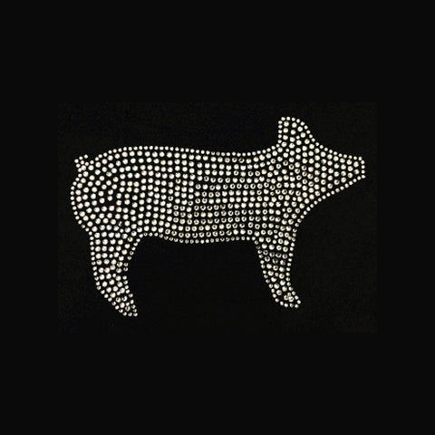 "Western, Filled Pig (6x8.5"") Rhinestone Bling Shirt - Bling By Bates"