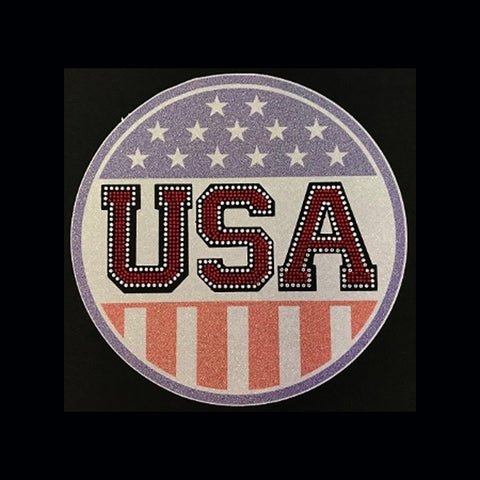 "USA Circle (9x9"") Rhinestones & Printed Vinyl Shirt - Bling By Bates"