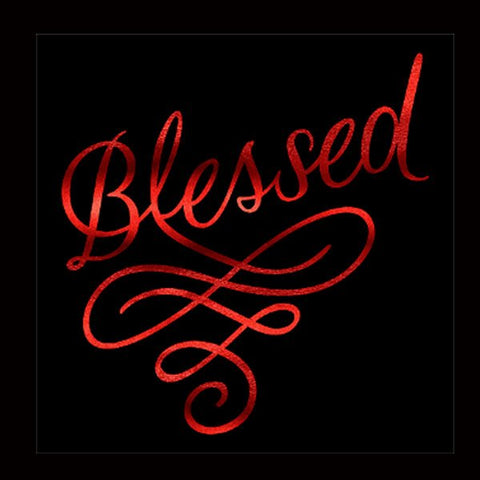 "Blessed Swirl (9.5x9.5"") Red Soft Metallic Vinyl  Bling Shirt - Bling By Bates"