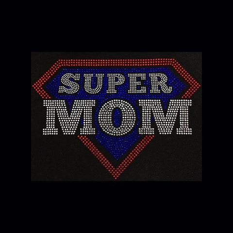 "Super Mom (7.5x10.25"") Rhinestone Bling Shirt - Bling By Bates"