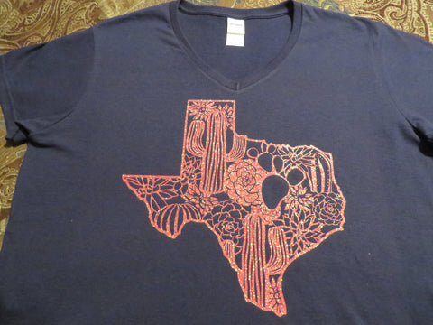 Texas Map with Cactus Glitter, Plain or Metallic Vinyl Bling Shirt - Bling By Bates