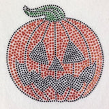 "Carved Pumpkin Large (8x8"") Rhinestone Shirt - Bling By Bates"