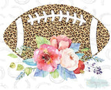 "Football with Flowers Cheetah (9.25"" Wide)  Printed Vinyl Bling Shirt - Bling By Bates"