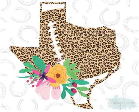 "Texas Football with Flowers Cheetah (9.25"" Wide)  Printed Vinyl Bling Shirt - Bling By Bates"