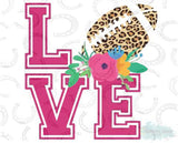 "Love Football with Flowers Cheetah (9.25"" Wide)  Printed Vinyl Bling Shirt - Bling By Bates"