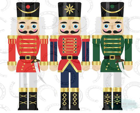 "Nutcracker Red & Green (9.25"" Wide) Printed Vinyl Bling Shirt - Bling By Bates"