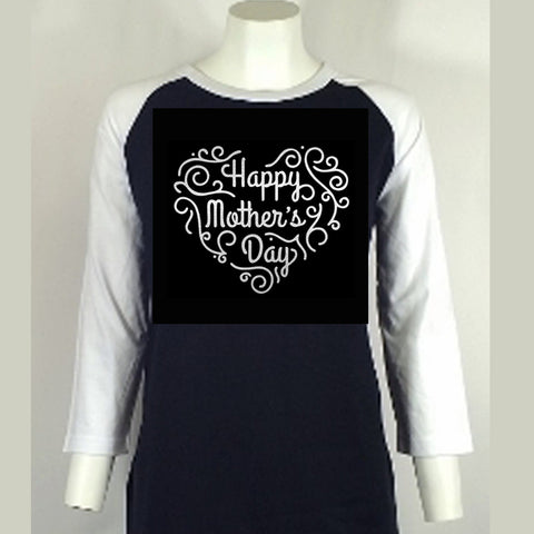 "Happy Mother's Day (8.5x10"") Soft Silver Metallic Vinyl Bling Shirt - Bling By Bates"