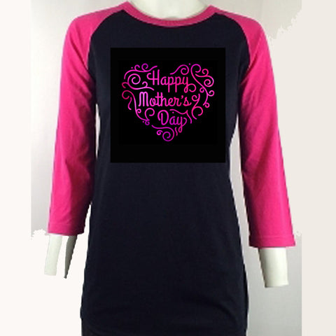 "Happy Mother's Day (8.5x10"") Soft Pink Metallic Vinyl Bling Shirt - Bling By Bates"